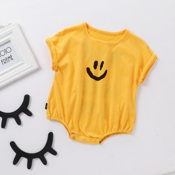 Baby Girl Smile Letter Print Round Neck Short Sleeve Jumpsuit Baby Boutique Clothes Wholesale