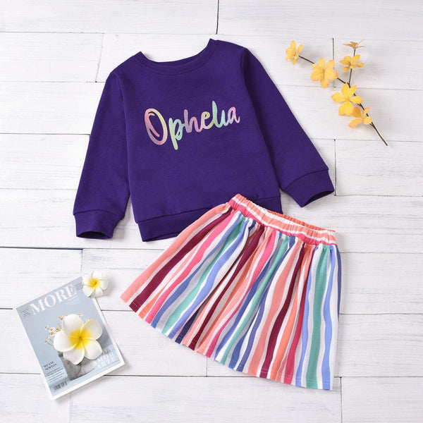 Girls Long Sleeve Letter Printed T-shirt & Striped Skirt Girl Boutique Clothing Wholesale