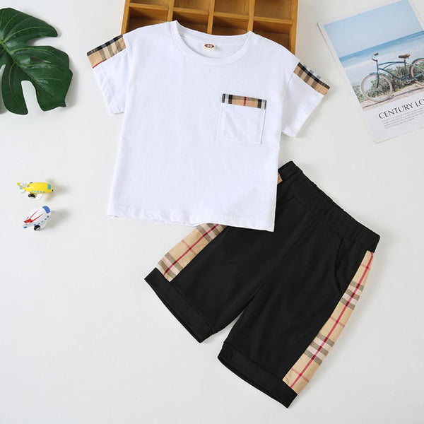 Boys' Solid Round Neck Short Sleeve T-shirt & Shorts Wholesale Boys Clothes