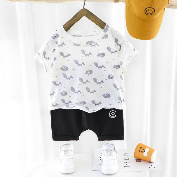 Boys Summer Baby Boy Cartoon Animal Print Round Neck Short Sleeve T-Shirt & Casual Shorts Baby Boutique Clothing Wholesale