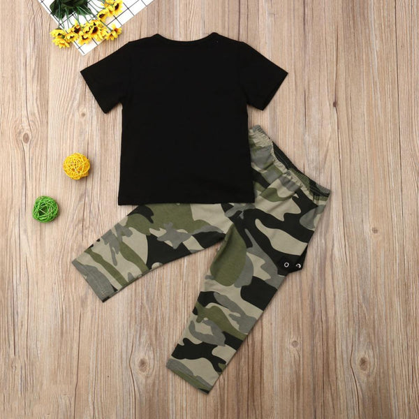 Boys' Letter Printed Round Neck Short Sleeve T-Shirt & Camouflage pants Baby Clothing Cheap Wholesale