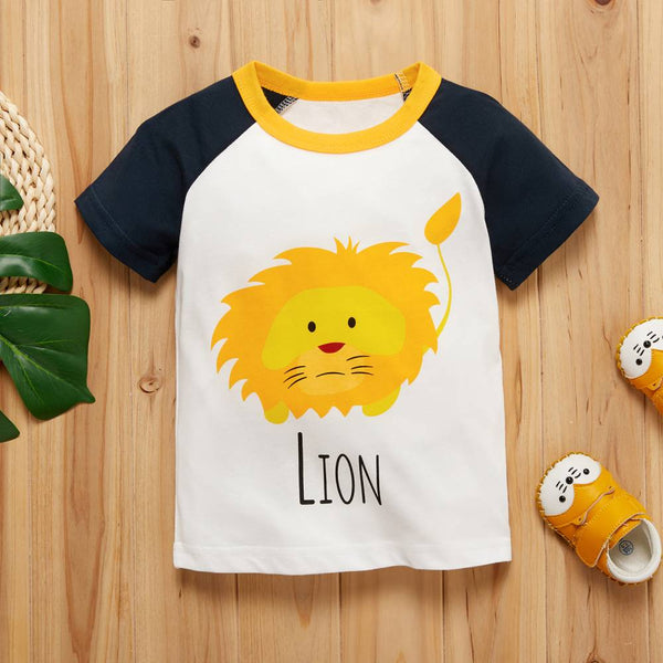 COTTNBABY Baby Unisex Casual Animal & Lion Tee