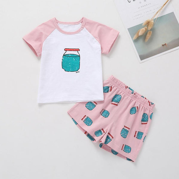 Girls Summer Baby Girl Print Solid Short Sleeve T-Shirt & Shorts Baby Clothes Cheap Wholesale