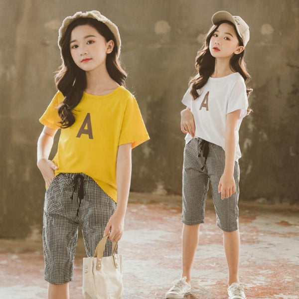 Girls Summer Girls' Letter Printed Round Neck Short Sleeve Top & Plaid Pants Girls Clothes Wholesale