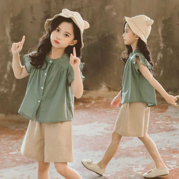 Girls Summer Girls' Solid Short Sleeve Top & Shorts Girls Clothing Wholesalers