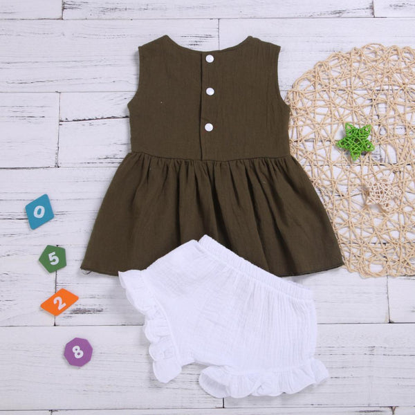 Girls Summer Girls' Solid Color Sleeveless Skirt & Shorts Wholesale Boutique Girl Clothing