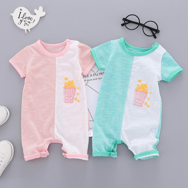 Girls Summer Baby Girl Two Color Short Sleeve Jumpsuit Buying Baby Clothes In Bulk