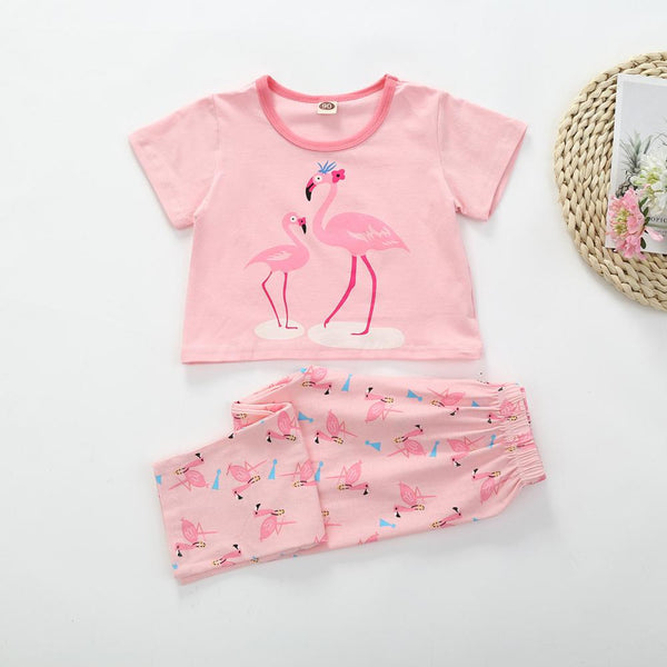 Girls Summer Girls Flamingo Solid Short Sleeve Top & Pants Wholesale Boutique Girl Clothing