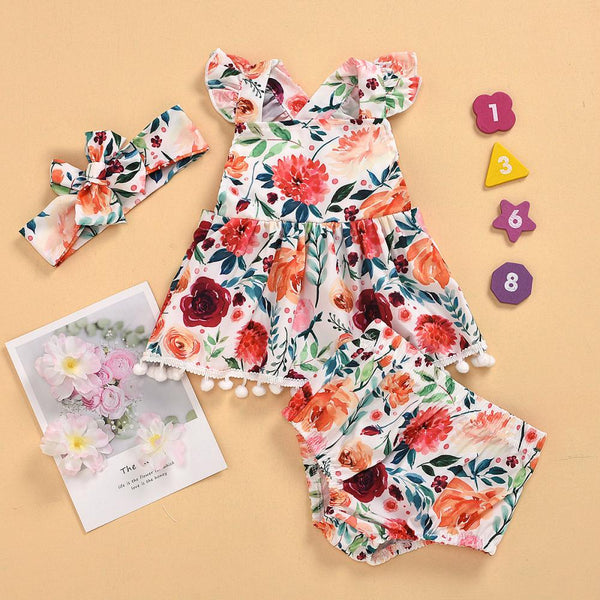 Girls Summer Girls Floral Print Skirt & Shorts Wholesale Girl Dresses