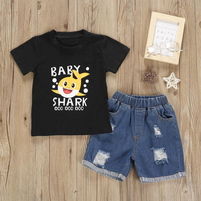 Girls Summer Girls Cartoon Shark Print Short Sleeve T-Shirt & Denim Shorts Wholesale Little Girls Clothes