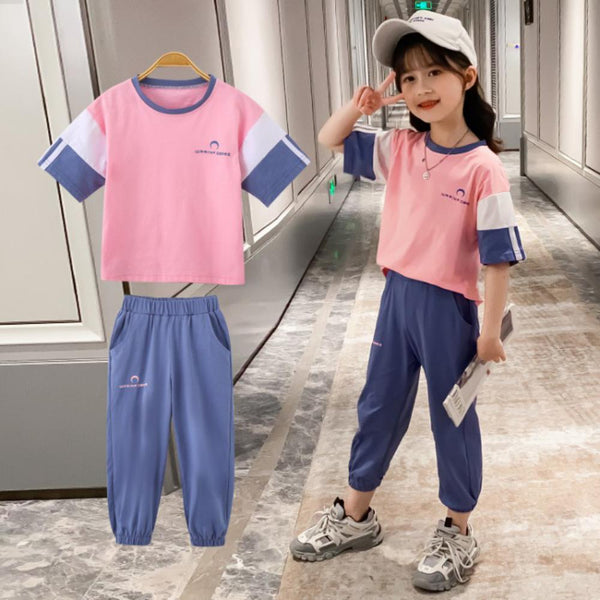 Girls Summer Girls' Solid Short Sleeve Top & Pants Wholesale Girl Clothing