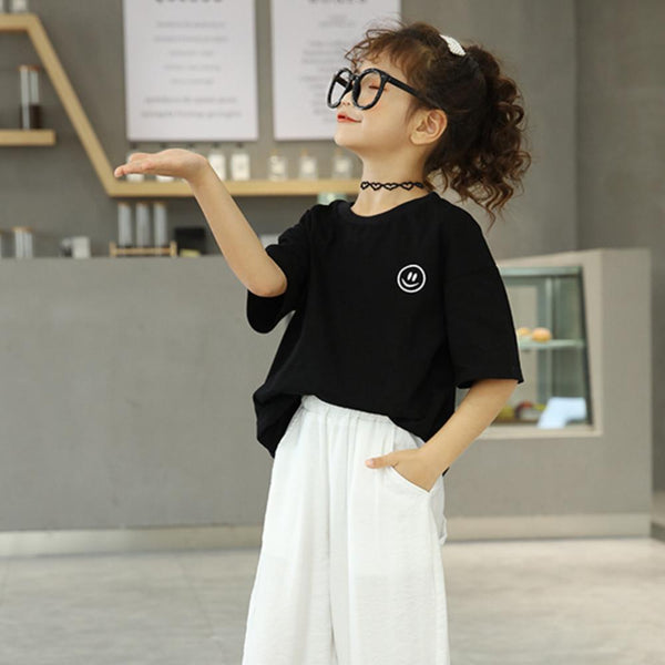Girls Summer Girls' Black Letter Smiley Face Print Short Sleeve T-Shirt Girl Boutique Clothing Wholesale