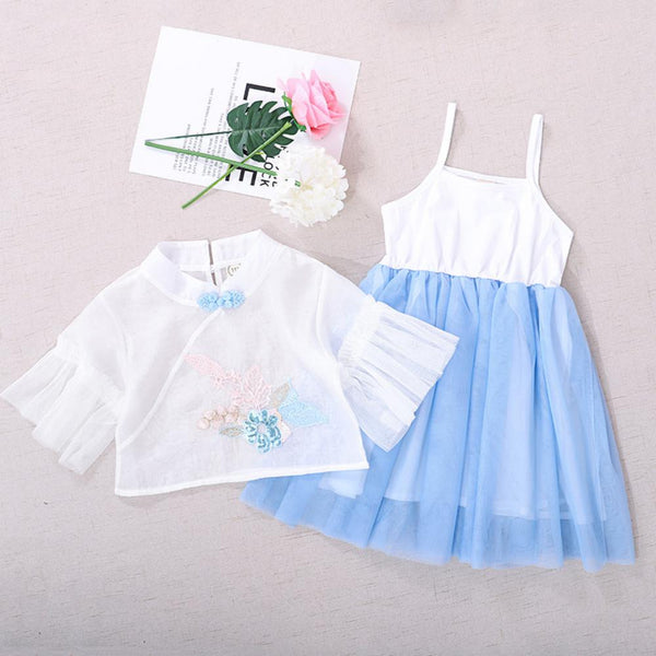 Girls Summer Girls' Embroidered Dress & Gauze Top Toddler Girl Sets
