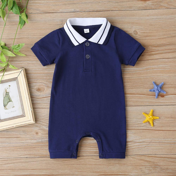 Boys Summer Baby Boys' Solid Lapel Short Sleeve Jumpsuit Girls Wholesale Dresses