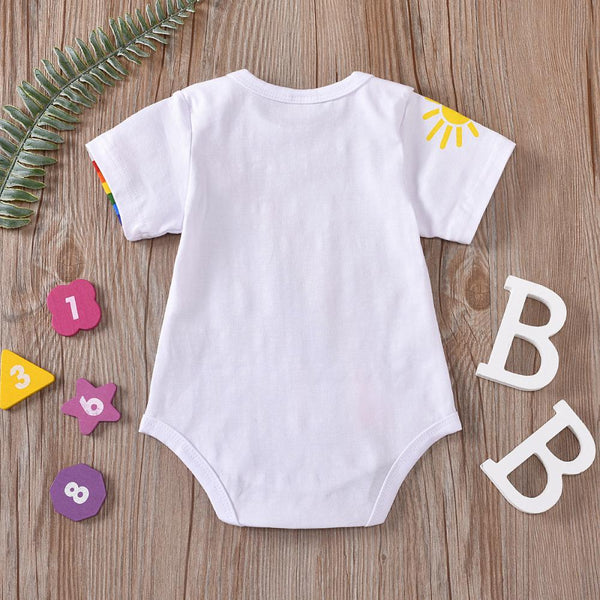 Boys Summer Baby Boy Rainbow Print Short Sleeve Jumpsuit Wholesale Baby Boy Boutique