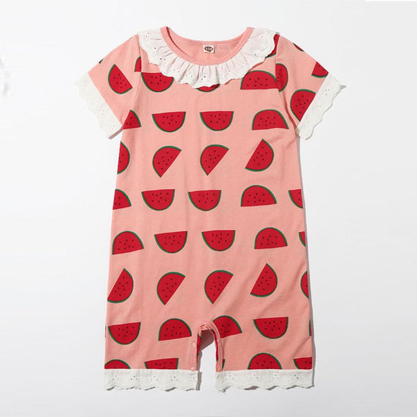 Girls Summer Girls' Watermelon Print Short Sleeve Jumpsuit Wholesale Clothing For Girls