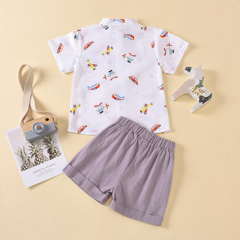 Boys Summer Boys' Cartoon Printed Short Sleeve T-Shirt & Shorts Little Boys Wholesale Clothing