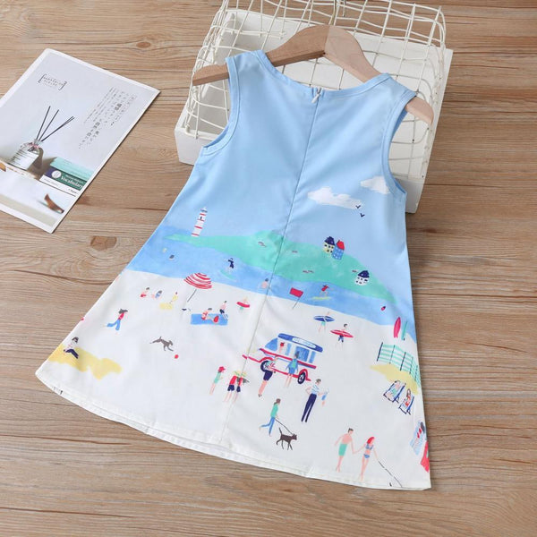 Girls Summer Girls' Cartoon Seaside Print Dress Wholesale Little Girls Clothes