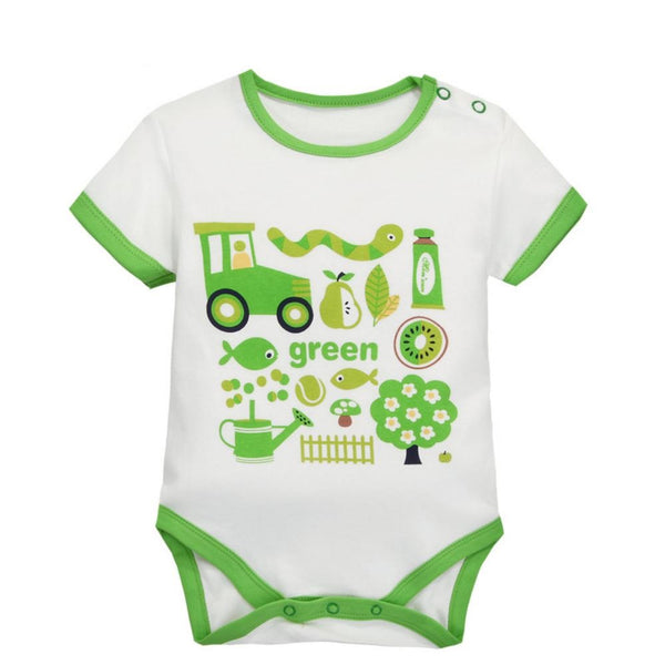 Boys Summer Baby Boy's Short Sleeve Shoulder Button Cartoon Print One Piece Wholesale Clothing Baby