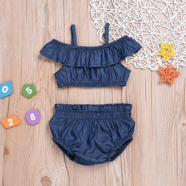 Girls Summer Girls' Denim Suspender Top & Denim Shorts Girls Clothes Wholesale