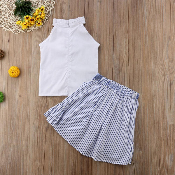 Girls Summer Girls' White Sleeveless Top & Striped Print Skirt Girls Clothing Wholesale
