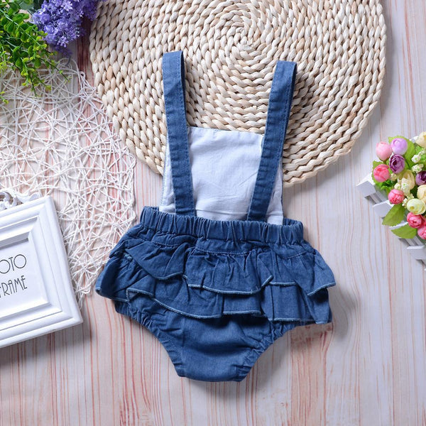 Girls Summer Baby Girl Denim Jumpsuit Wholesale Baby Girl Boutique Clothing