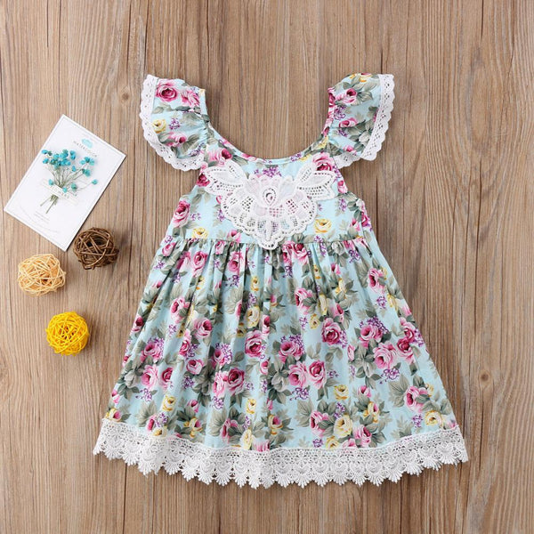 Girls Summer Girls Floral Lace Suspender Dress Girls Clothing Wholesalers