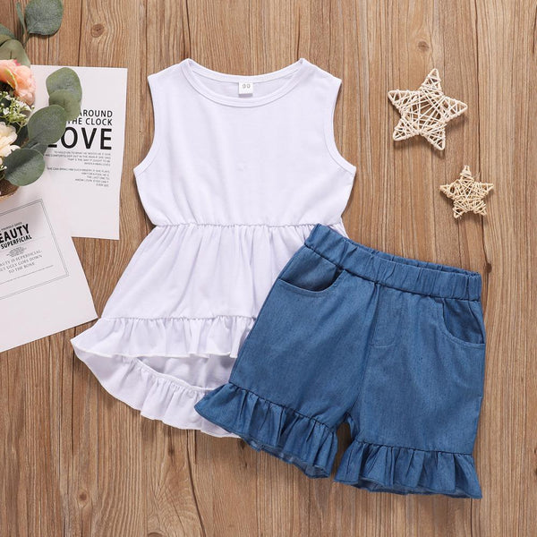 Girls Summer Girls' Sleeveless Round Neck Skirt & Shorts Wholesale Little Girls Clothes