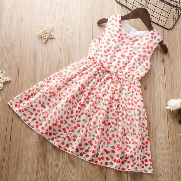 Girls Summer Girls Floral Print Princess Skirt Girls Wholesale Dresses