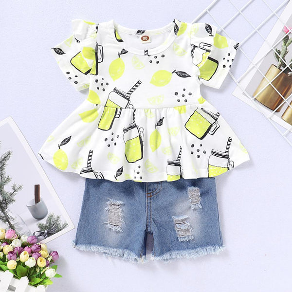 Girls Summer Girls' Printed Short Sleeve Top & Denim Shorts Girls Boutique Clothes Wholesale