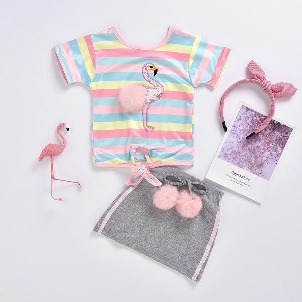 Girls Summer Girls' Colorful Striped Flamingo Print Short Sleeve Top & Grey Skirt Girls Boutique Clothing Wholesale