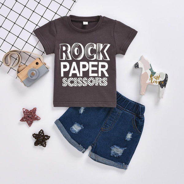 Boys Summer Boys' Letter Printed Short Sleeve T-Shirt & Denim Shorts Boy Clothes Wholesale
