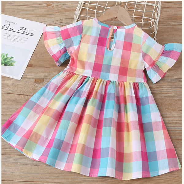 Girls Summer Girls' Plaid Flying Sleeve Dress Wholesale Boys Clothing Suppliers