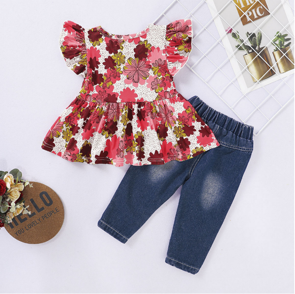 Girls Summer Girls' Flying Sleeve Print Top & Jeans Wholesale Little Girl Boutique Clothing