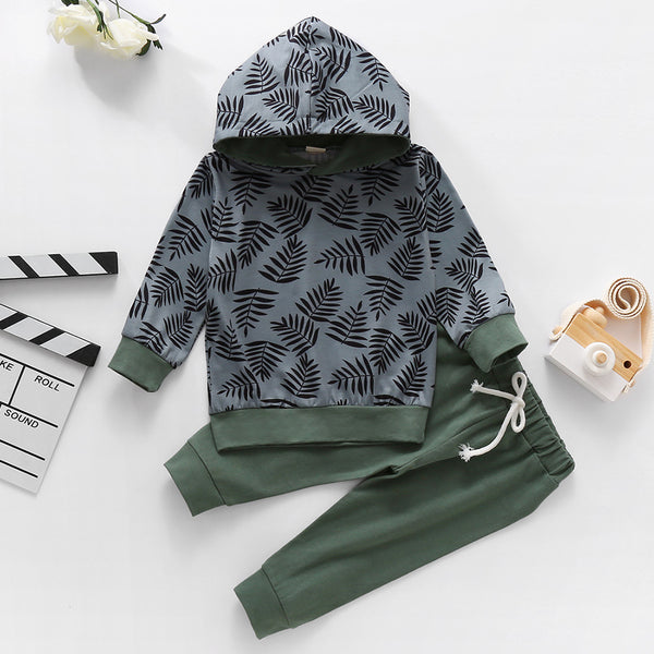 Baby Boys Printed Hooded Long Sleeve Jumper & Pants Wholesale Baby Cloths