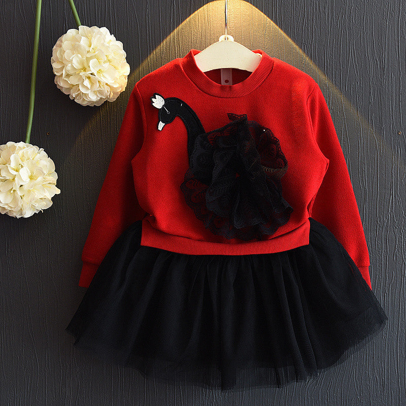 Girls Fake Two Pieces Knitted Dress Cartoon Swan Mesh Splice Skirt