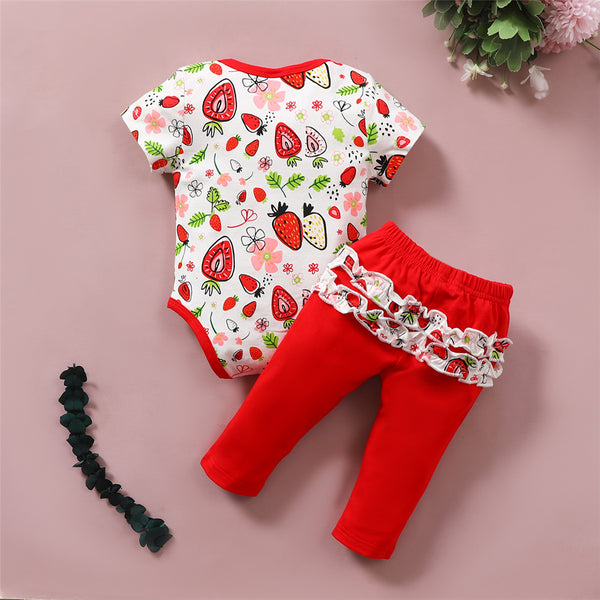 Baby Girls Strawberry Printed Short Sleeve Romper & Pants baby wholesale