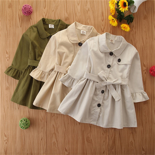 Girls Button Lapel Long Sleeve Solid Coat Daddys Girl Baby Outfit Wholesale