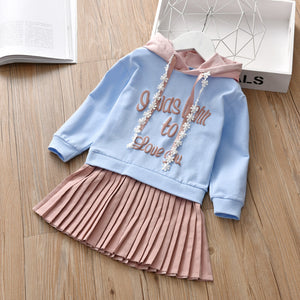 Girl Fashion Letter Pleated Skirt Contrast Color Splice Princess Skirt