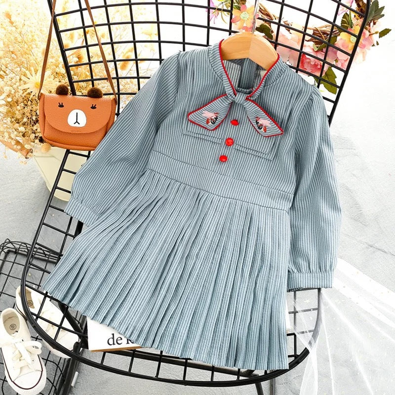 Girls Stylish Solid Color Dress Long Sleeve Pleated Skirt