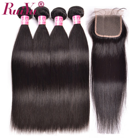 Ruiyu Brazilian Straight Hair Lace Closure 4x4 Natural Color 8-24 Non Remy Bleached Knots Lace Human Hair Closure With Baby Hair At All Costs Hair Extensions & Wigs Human Hair Weaves
