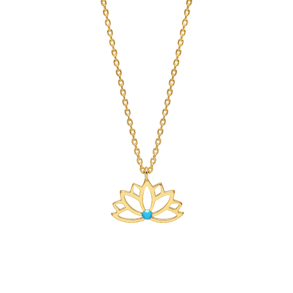 Necklace - Lotus Cut Out with Turquoise Stone