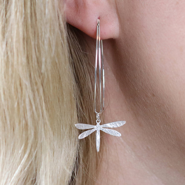 Scratched Dragonfly Drop Earrings