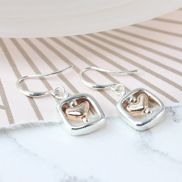 R/Gold Heart Sq Drop Earrings