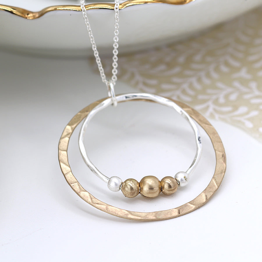 Double Hoop Necklace With Gold Beads