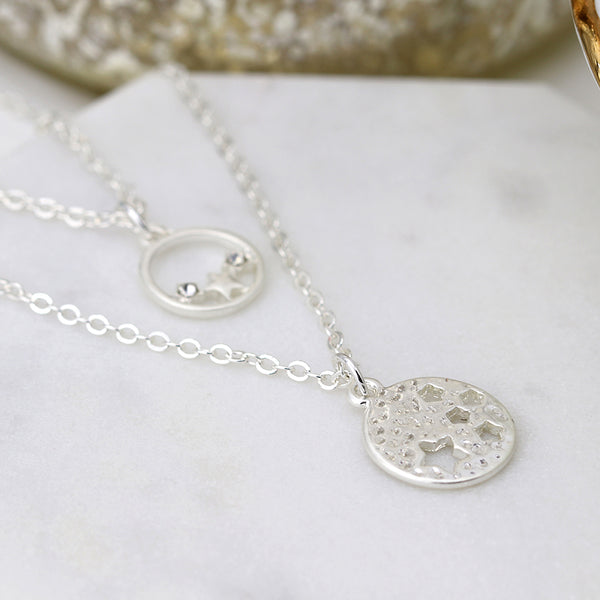 Double Layer Silver Stars in Circle Necklace