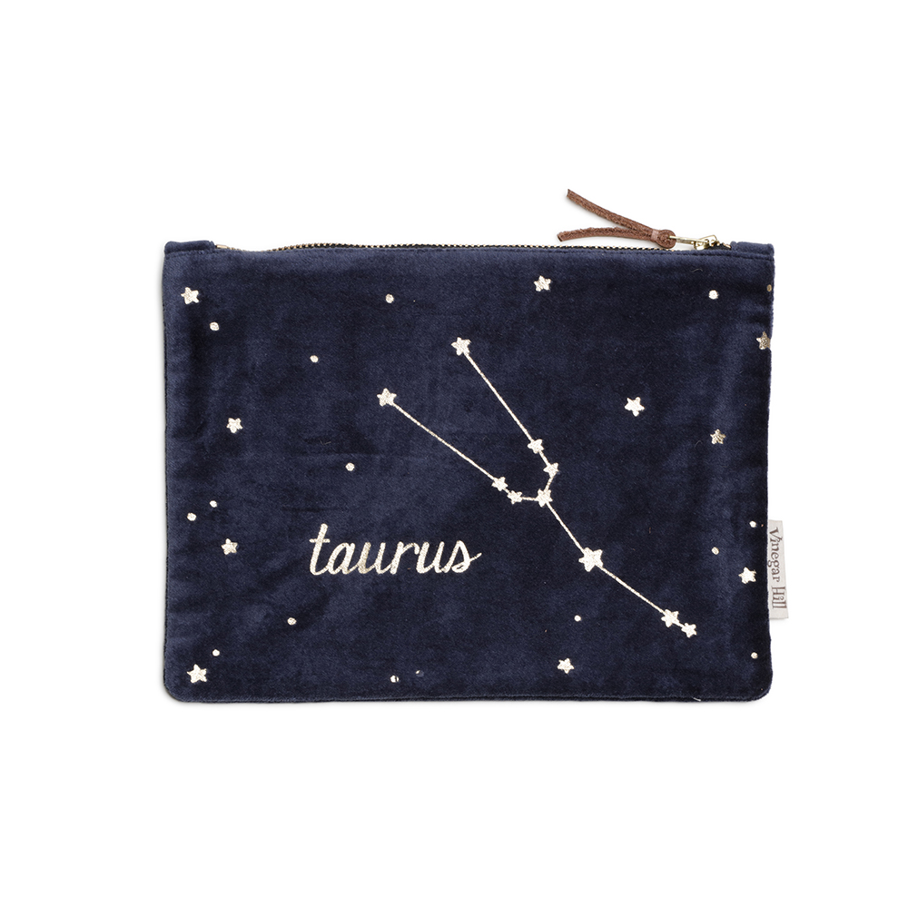 Blue velvet Taurus wash bag with leather trim