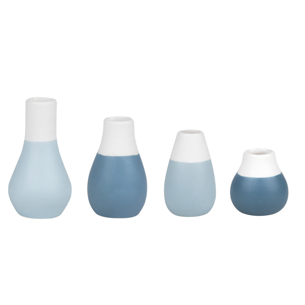 Mini Pastel Blue Vases Set of 4