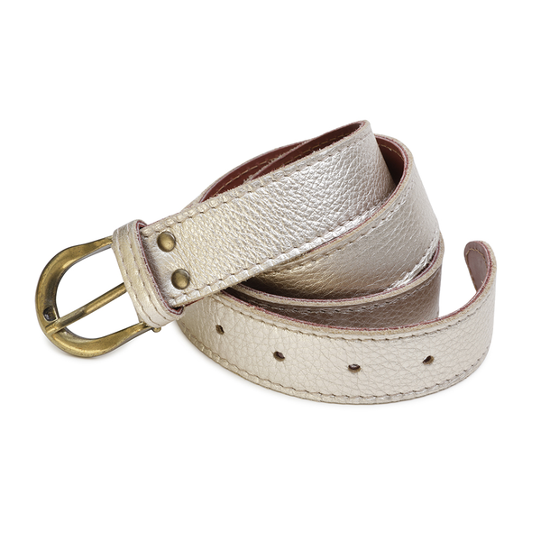 Leather Metallic Belt - Pale Gold