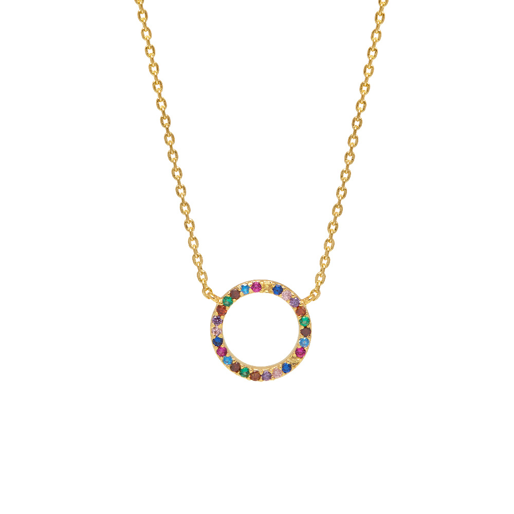Multi Coloured Cubic Zirconia Circle Necklace